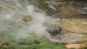 Eruption of the geyser Bolshoy in Valley of Geysers. Kamchatka Peninsula in the summer stock footage
