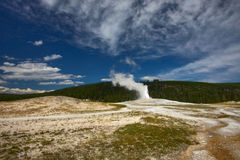 The eruption of a geyser. stock photo