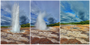 The eruption of the geyser Strokkur Royalty Free Stock Photo