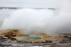 Eruption of hot geysers in Yellowstone Royalty Free Stock Images