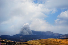 Eruption in Kyushu, Japan Aso volcano Royalty Free Stock Photos