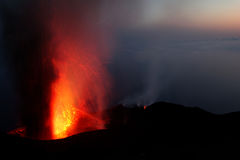 Eruption of mount Strombli volcano Stock Photo