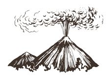 Eruption. Mountains sketch. Eruption. Mountains vector sketch freehand drawing vector illustration