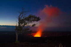 Eruption at night stock photo