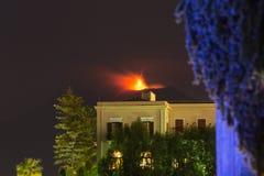 Eruption of Sicilian volcano Etna at nigh Stock Image