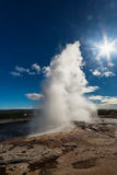 Eruption of Strokkur geyser, Iceland Stock Photo