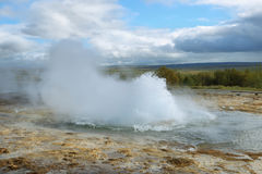 Eruption of Strokkur Geyser Royalty Free Stock Photos