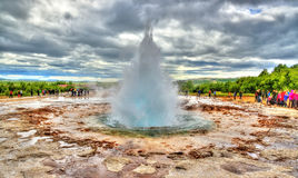 Eruption of Strokkur geyser in Iceland Royalty Free Stock Images