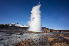 Eruption of Strokkur Geysir Royalty Free Stock Photography