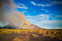 Eruption of Tavurvur volcano, Rabaul, New Britain island, Papua New Guinea Royalty Free Stock Images