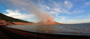 Eruption of Tavurvur volcano, Rabaul, New Britain island, Papua New Guinea Stock Images