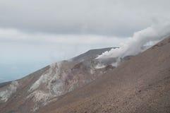Eruption of Te Maari craters at Mount Tongariro. Tongariro crossing Royalty Free Stock Images