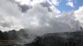 Eruption under clouds stock video