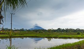 Eruption of volcano Agung in Bali island stock photos