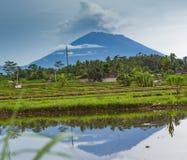 Eruption of volcano Agung in Bali island stock image