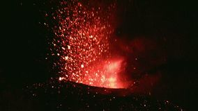 Eruption of Volcano Etna, Italy stock video