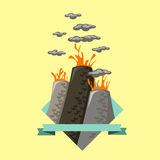 Eruption of a volcano in a flat style on blue banner Stock Photo