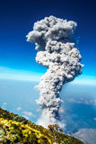Eruption of volcano Santiaguito in Guatemala by Santa Maria Royalty Free Stock Images