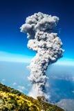 Eruption of volcano Santiaguito in Guatemala by Santa Maria. View on Eruption of volcano Santiaguito in Guatemala by Santa Maria royalty free stock images