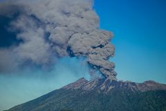 Eruption volcano and smoke emissions on the Gunung Agung, Bali, Indonesia stock photos
