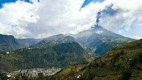 Eruption of a volcano Tungurahua in Ecuador Stock Photos