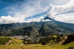 Eruption of a volcano Tungurahua in Ecuador Stock Images