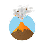 Eruption of a volcano, vector logo Royalty Free Stock Image
