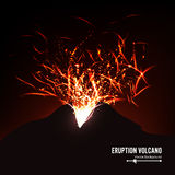 Eruption Volcano Vector. Thunderstorm Sparks. Big And Heavy Explosion From The Mountain. Spewing Glowing Red Hot Lava. Stock Image