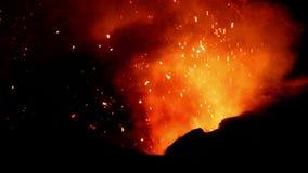 Eruption of Volcano Yasur, Vanuatu. Eruption of Volcano Yasur during the night in Vanuatu stock video footage