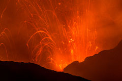 Eruption of Volcano Yasur, Vanuatu Stock Photos