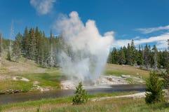 Eruzione del geyser della riva del fiume Fotografia Stock Libera da Diritti
