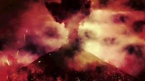 Eruzione vulcanica caotica con fuoco e le fiamme da un vulcano royalty illustrazione gratis