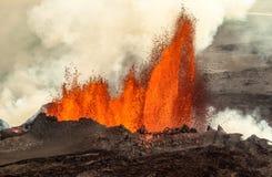 Eruzione vulcanica in Holuhraun Islanda (2014) Fotografia Stock Libera da Diritti