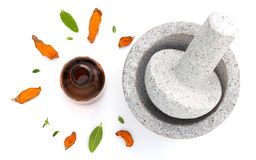 Erval fresco dos cuidados médicos alternativos e garrafa da aromaterapia Fotografia de Stock Royalty Free