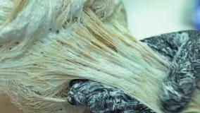Ervaren kapper die vrouwelijk haar, kleuring, de dienst van de schoonheidssalon verven stock videobeelden