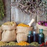 Ervas curas em sacos da juta e garrafas do óleo essencial Imagem de Stock