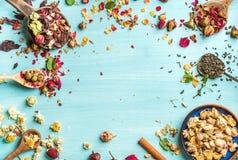 Ervas diferentes para fazer o chá saudável: a hortelã, canela, secada aumentou na bacia, camomila floresce nas colheres sobre o a Imagens de Stock Royalty Free