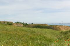 Ervas do estepe crimeano com ideias do passo de Kerch Foto de Stock Royalty Free