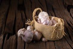 Ervas e alho frescos das especiarias na cesta sobre a parte traseira de madeira velha Fotos de Stock Royalty Free