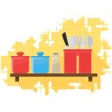 Ervas e cutelaria da ilustração do vetor Imagens de Stock Royalty Free
