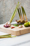 Ervas e especiarias ajustadas para fazer a Tom Yum a sopa picante imagem de stock royalty free