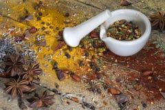 Ervas e especiarias - almofariz e pilão Imagens de Stock Royalty Free