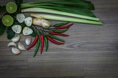 Ervas e especiarias frescas no fundo de madeira, ingredientes do alimento picante tailandês, ingredientes de Tom yum Imagem de Stock