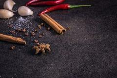 Ervas e especiarias sobre o fundo de pedra preto, fotografia místico Fotos de Stock