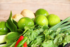 Ervas e especiarias tailandesas da sopa de Tom Yam fotografia de stock