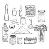 Ervas e tempero da garatuja do alimento ilustração stock