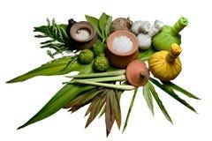 Ervas tailandesas da massagem e dos termas imagens de stock