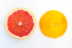 Erved fresh grapefruit composition isolated over the white background, top view Stock Photography