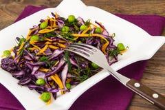 Ervilhas alimento-verdes saudáveis, abóbora e couve vermelha Fotografia de Stock Royalty Free