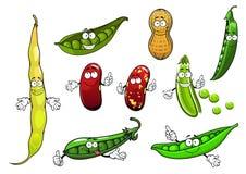 Ervilhas, feijões e amendoim isolados desenhos animados Foto de Stock